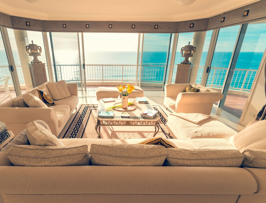 Living room facing the water