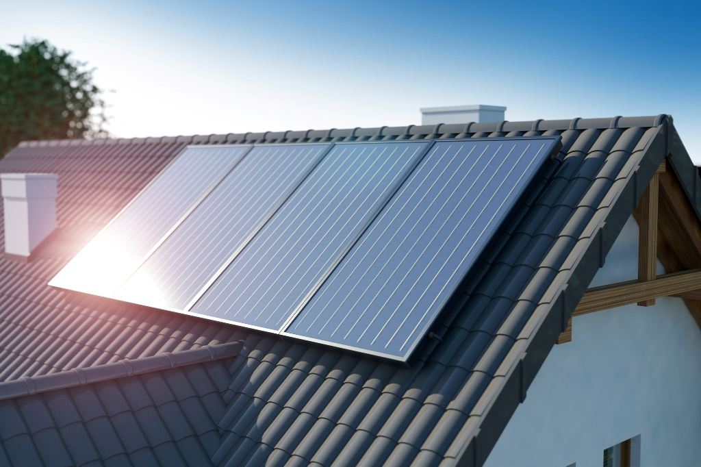 A Solar Panel on a Roof of a Luxury Home. An Eco-Friendly Solution.